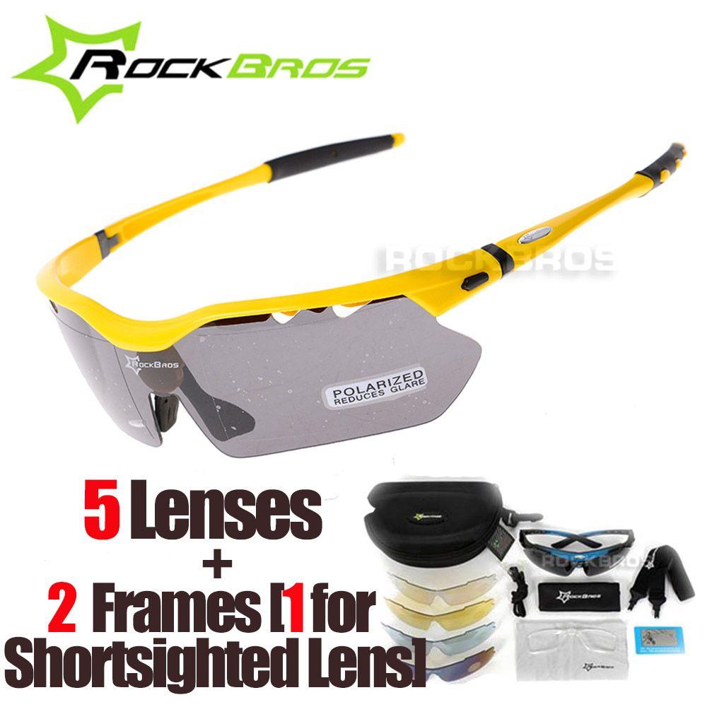 RockBros Polarisierte 5 Linsen Radsportbrille mit Myopie Rahmen Bike Brillen Fahrrad Gläser Sonnenbrille für Reiten Sport Männer Frauen