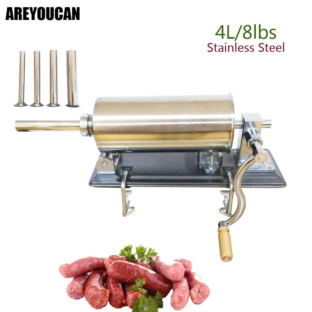 8lbs/4kg Horizontal Stainless Steel Sausage Maker Manual Sausage Stuffer Machine Making Filling Vertical Sausage Filler