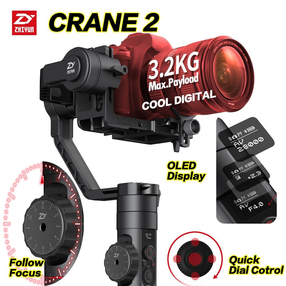 Zhiyun Crane 2 DSLR Gimbal Stabilizer 3 axis Brushless Handheld Video Camera Stabilizer Kit for Mirrorless Camera Load 3200g