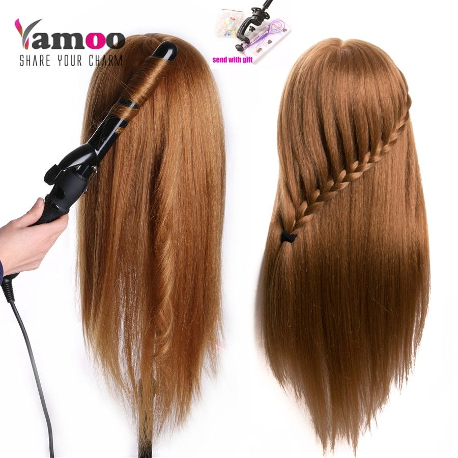 Training Head For Salon 60% real Human Hair Hairdressing Mannequin Dolls hairstyles professional styling head can be curled hair