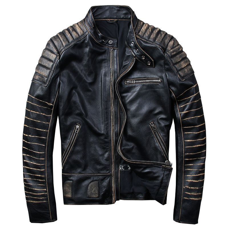HARLEY DAMSON Vintage Black Men Biker's Leather Jacket Plus Size XXXXL Genuine Cowhide Slim Fit Short Motorcycle Leather Coat