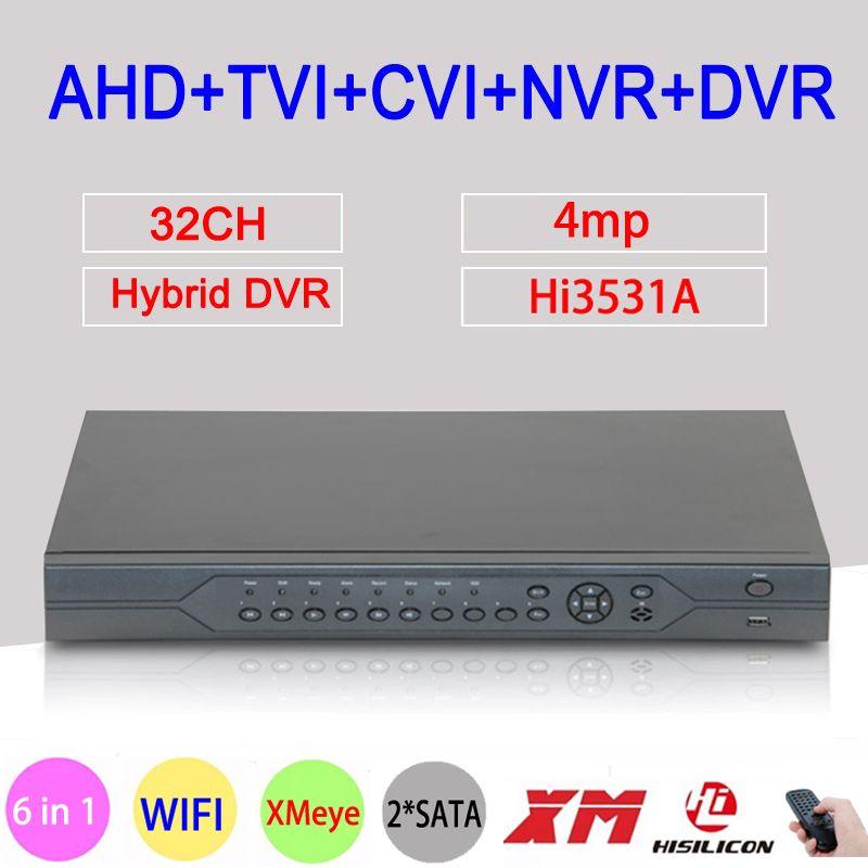 4MP HD Hi3531A 32CH 32 Channel 6 in 1 WIFI Coaxial Hybrid NVR CVI TVI AHD DVR Surveillance Video Recorder Free Shipping