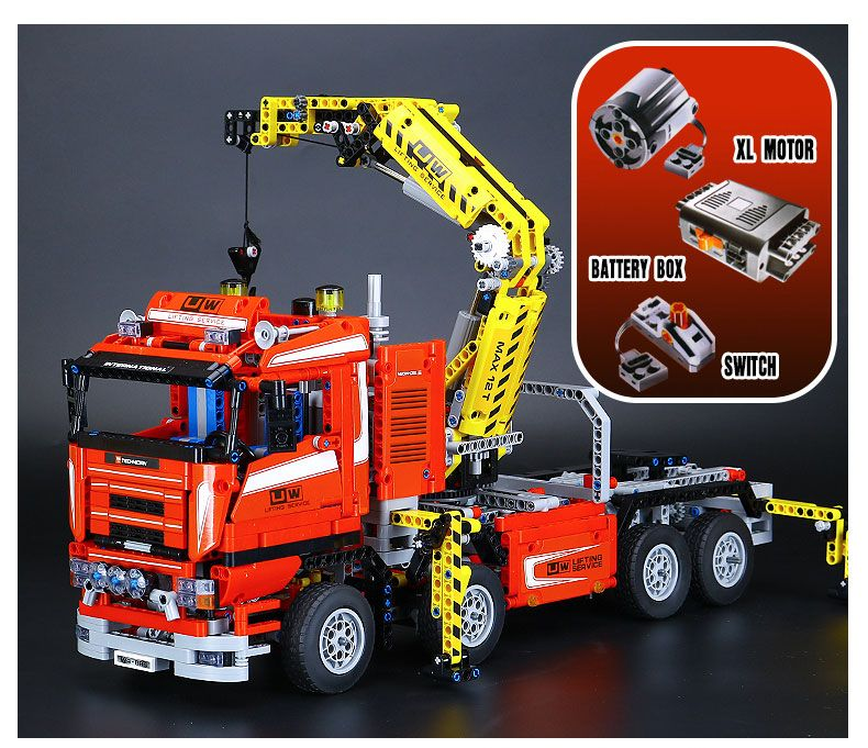 Lepin 20013 1877pcs Technic Ultimate Mechanical Electric Crane Truck Building Blocks Bricks toys Gifts Compatible Legoed 8258
