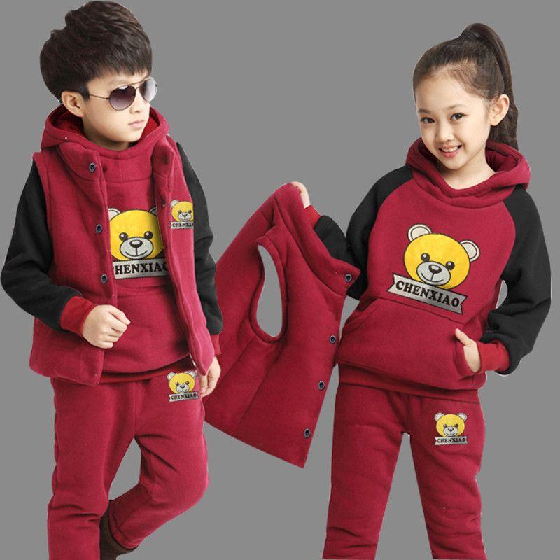 Filles garçons vêtements ensemble automne hiver Hoodies + gilets + enfants pantalons 3 pièces enfants Sport costume filles vêtements ensembles à capuche manteau costumes