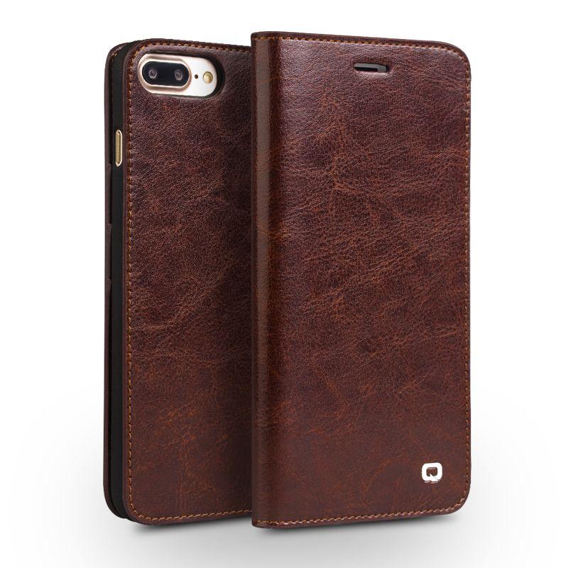 QIALINO étui pour iphone 7 fait à la main en cuir véritable portefeuille étui pour iphone 7 plus luxe Ultra mince étui à rabat