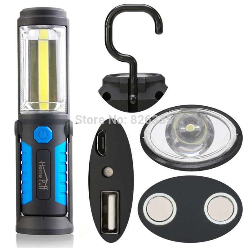 18650 COB Torch Charging Linterns LED Rechargable USB Flashlight Work Light Magnetic HOOK with Mobile Power Function
