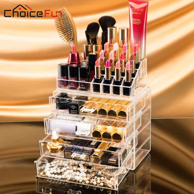 CHOICEFUN Home Desktop Clear Large Plastic Storage Box Lipstick Holder Acrylic Cosmetic Drawer Make Up Makeup Organizer For Girl