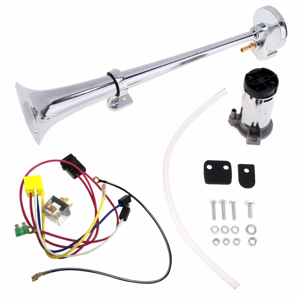17 Inch 12V/24V 150DB Super Loud Single Car Trumpet Air Horn Compressor Kit With Relay for Cars / Trucks / Boats / Motorcycles