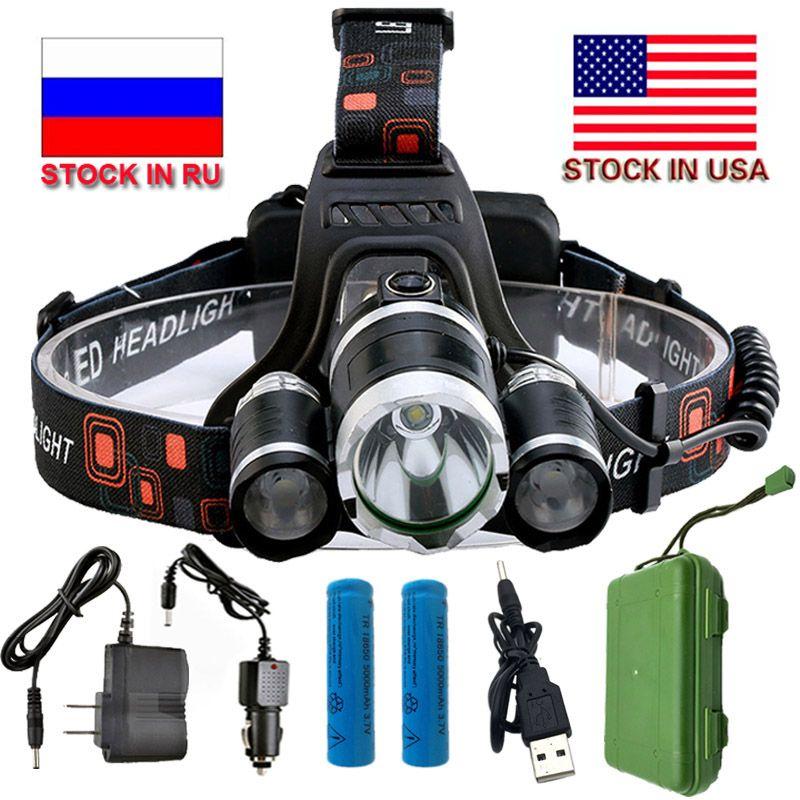 ZK20 livraison directe 13000LM 4 Modes T6 LED phare 18650 batterie Rechargeable lampe de poche étanche éclairage extérieur Stock aux états-unis, RU