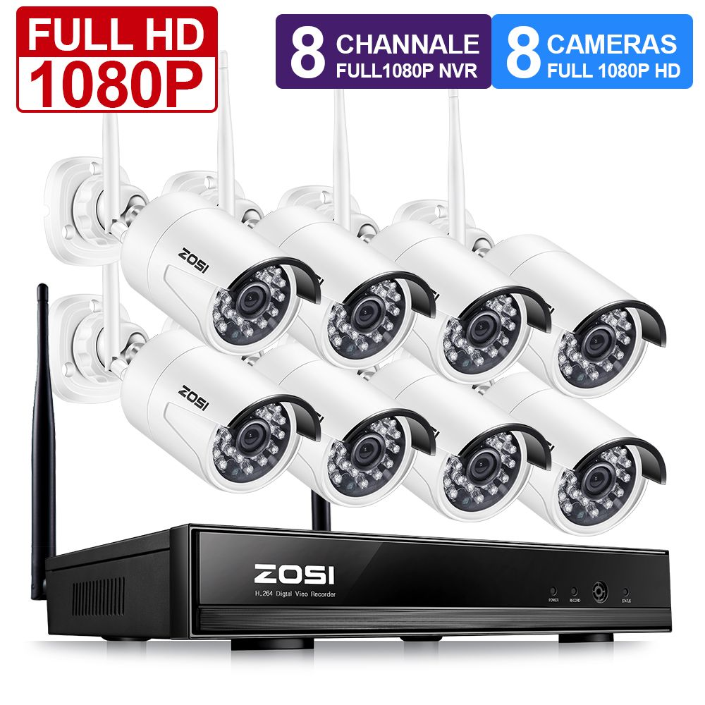 ZOSI 1080P Wireless CCTV System 2MP 8CH Powerful NVR IP IR-CUT Bullet CCTV Camera WiFi IP Security System Surveillance Kits