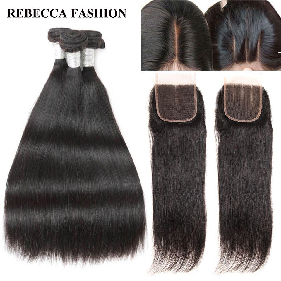 Rebecca Cabello humano paquetes con Extensiones Remy pelo brasileño recto 3 paquetes 4x4 Cordones de cierre salón paquete extensión del pelo