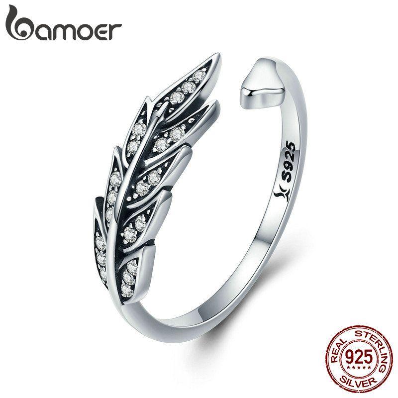 BAMOER Heißer Verkauf Authentische 925 Sterling Silber Feder Flügel Einstellbare Finger Ring für Frauen Sterling Silber Schmuck Geschenk SCR313