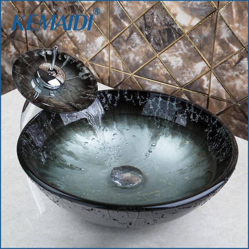 KEMAIDI Gehärtetem Glas Hand Farbe Waschbecken Waschbecken Wasserfall Toilette Bad Kombinieren Messing Set Wasserhahn, mixer & Taps Bad Schiff