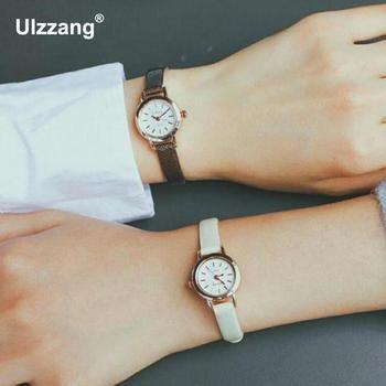 Ulzzang Petit Cadran Vintage En Cuir de Femmes Montres Casual Charme Dames Bracelets Style Simple Quartz Robe Montre Femmes Horloge