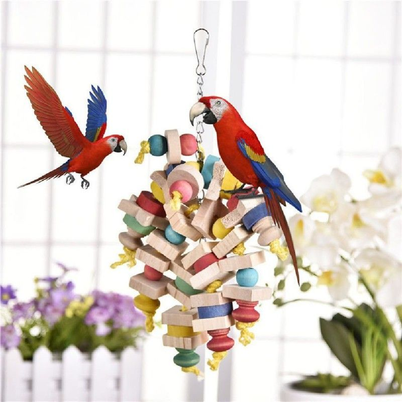 New Arrival Wood Colorful Parrot Toys Chew Toy Pet Bird Toys Hanging Swing Cage Toys For Parrots Pet Bird Random Color