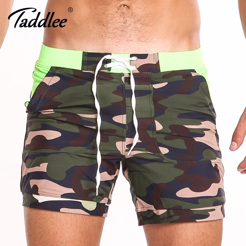 Taddlee Brand Sexy Men's Swimwear Swimsuits Gay Plus Size Long Basic Camo Swimming Surf Board Shorts Swim Boxer Trunks Quick Dry