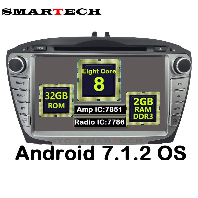 SMARTECH 2Din Octa Core Android 7.1.2 For Hyundai IX35 Tucson Car Radio Video Player Car Recorder Head Unit GPS Navigation Wifi