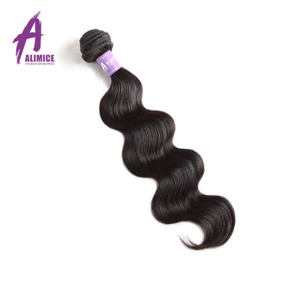 Alimice Hair Peruvian Body Wave 100% Human Hair Weave Bundles Non-Remy Hair Extension Can Be Dyed Natural Color 8-30 Inch