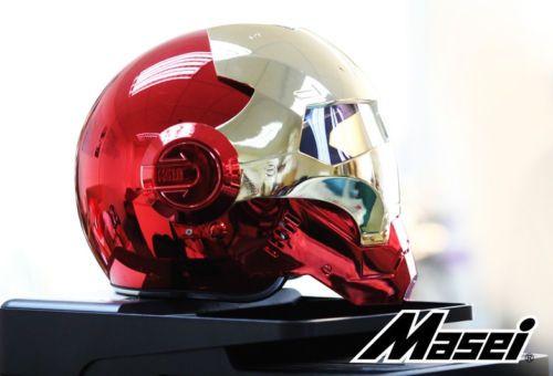 Masei bike scooter moto electroplate Red golden iron man helmet motorcycle helmet half helmet open face helmet casque motocross