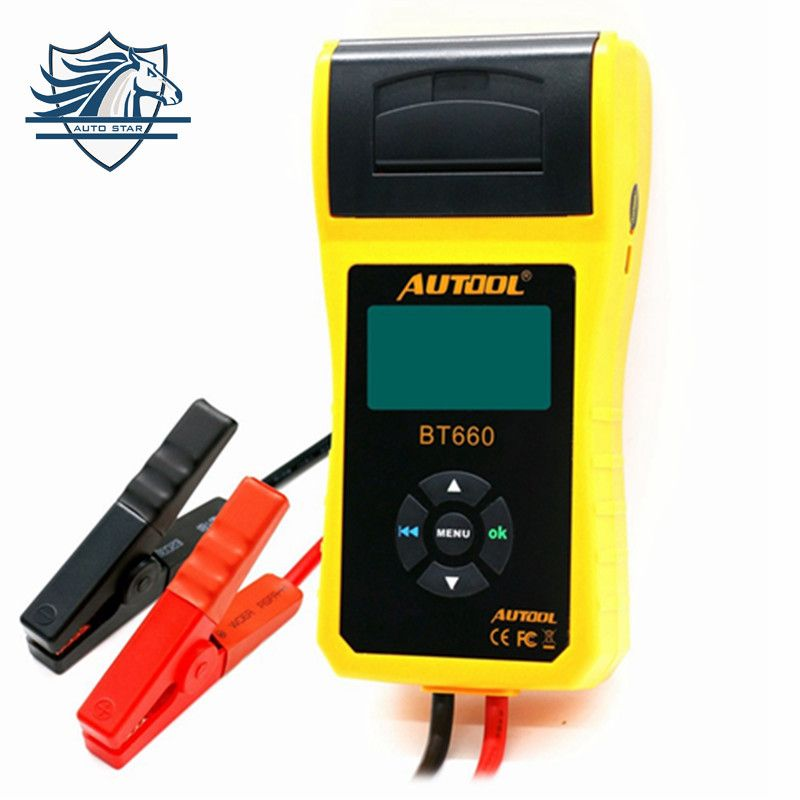 AUTOOL BT-660 Car Battery Tester with Built-in Printer BT660 Battery Analyzer for Flooded, AGM, GEL, EFB Detect Bad Battery Cell