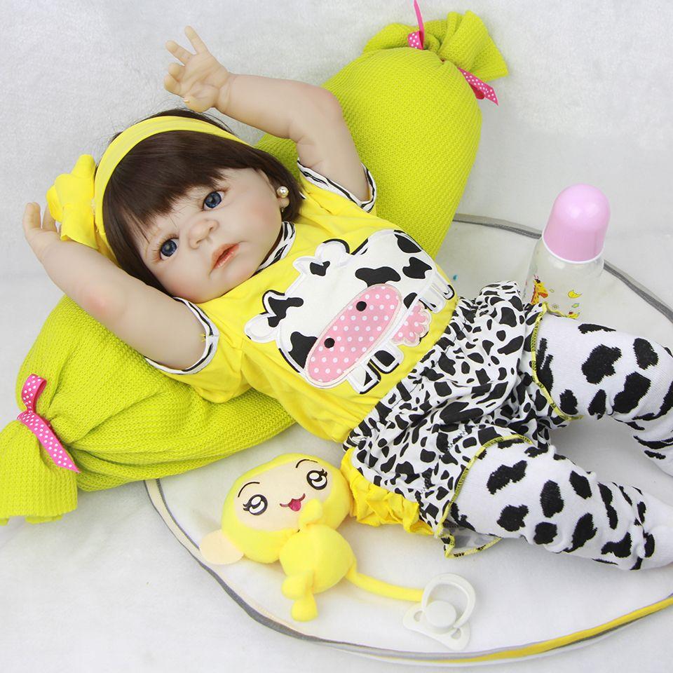 23'' Lifelike Reborn Baby Dolls White Skin Babies Doll Full Vinyl Body So Truly Girl Model Doll For Toddler bebe Toy Gifts
