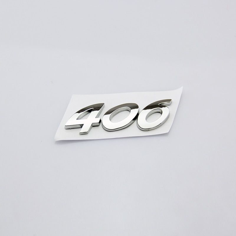 High Quality Fashion Personality Car Sticker 3D Silver 406 Lettering Rear Trunk Emblem Badge Decal For Peugeot 406 Sign Logo