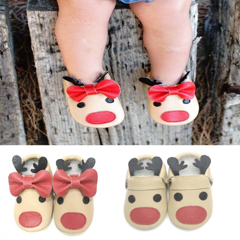 Fancy diseños únicos de Navidad del reno del bebé moccs mocasín zapatos infantiles del niño del bebé recién nacido Primer Caminante Zapatos
