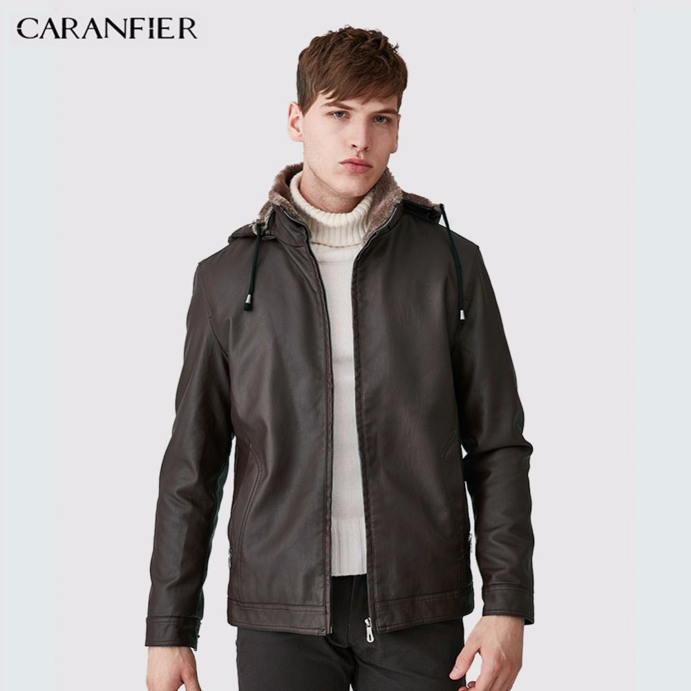 CARANFIER Men Fashion Leather Jacket Hat Detachable Slim Thick WInter Male Motorcycle Rider Businessmen Style M~3XL