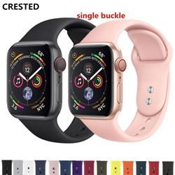 CRESTED Strap For Apple Watch band 4 3 42mm 38mm iwatch band 44mm/40mm correa Bracelet Sport Silicone belt watch Accessories 42