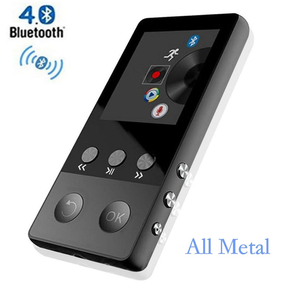 HiFi Metal MP4 Player with Bluetooth 8GB 2.0 Inch Screen Play 80 hours can Support 64GB SD Card with FM Radio Voice Recorder
