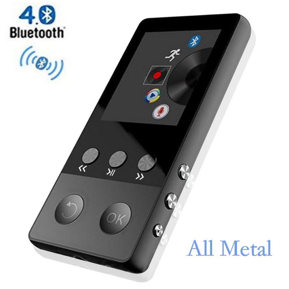 HiFi Metall MP4 Player mit Bluetooth 8 GB 2,0 Zoll Bildschirm Spielen 80 stunden kann Unterstützung 64 GB Sd-karte mit FM Radio Stimme Recorder