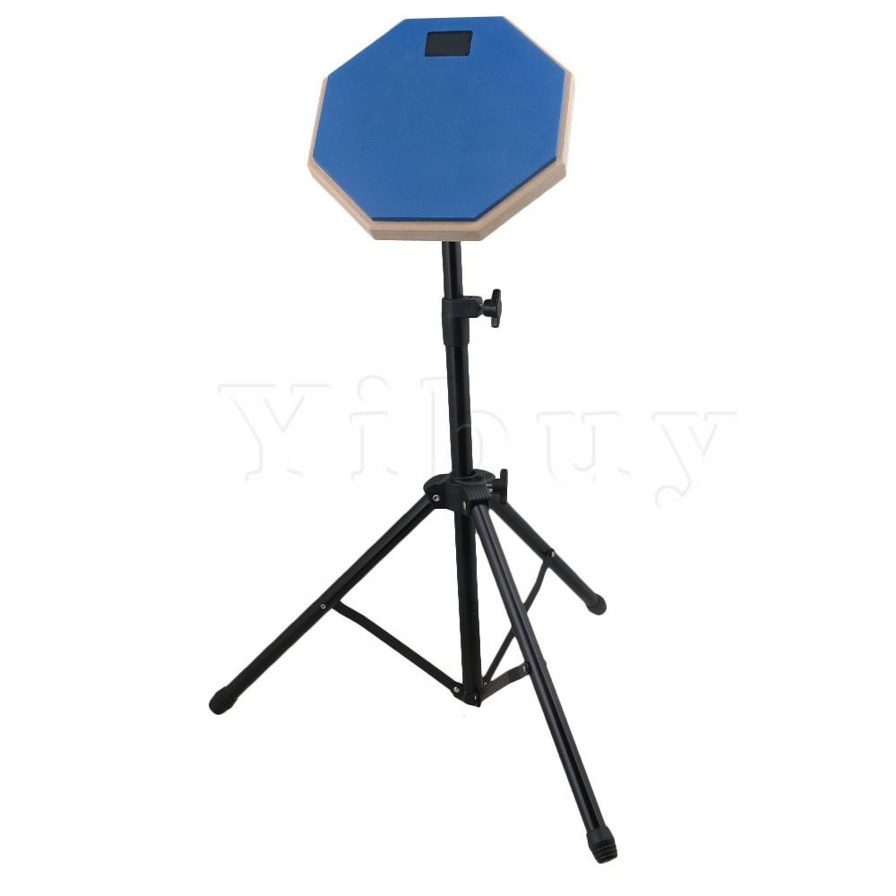 Yibuy 8inch Size Blue Rubber Wooden Base Stand Adjustable Silent Drum Practice Pad Set for Beginner Drumming
