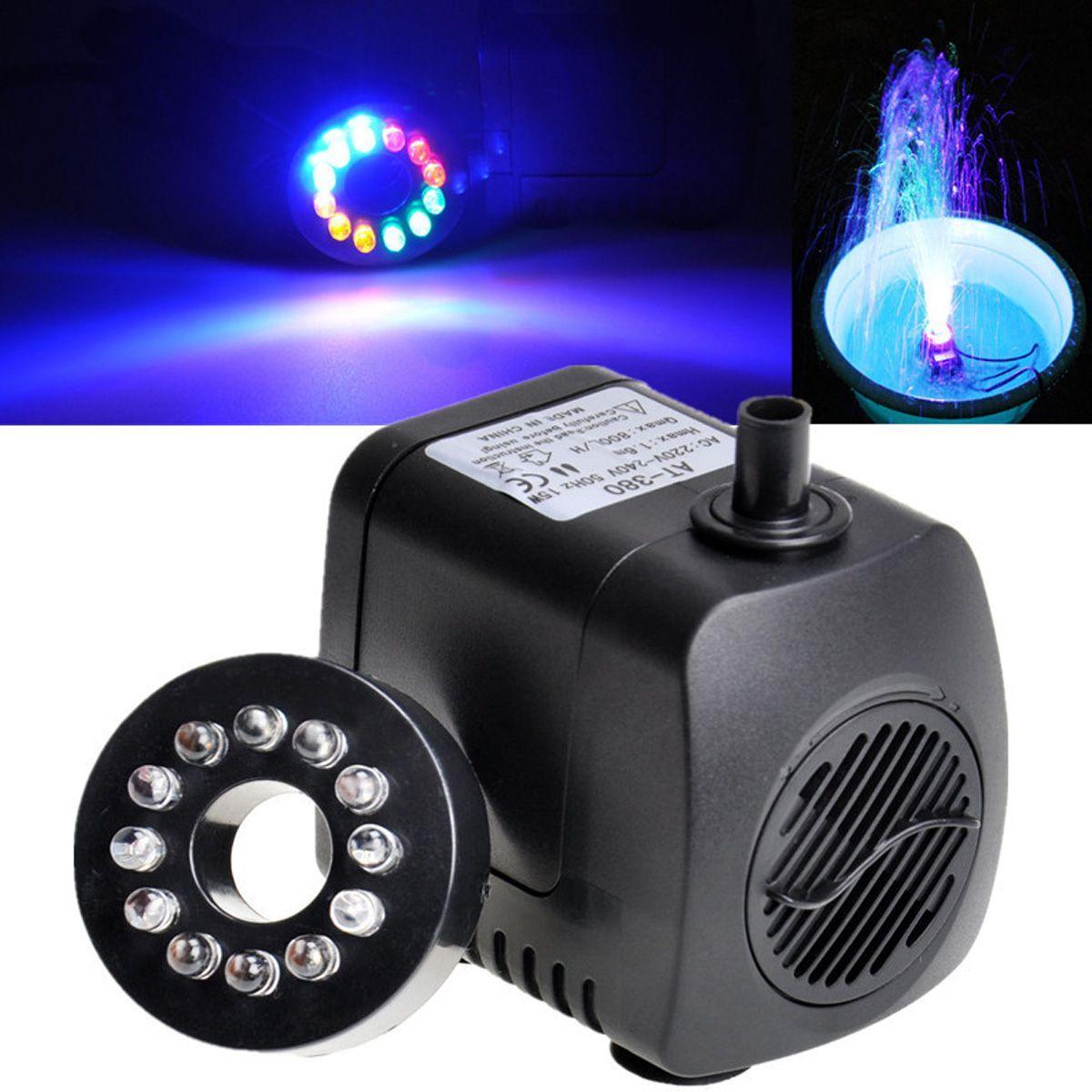15W 12 lumière LED Submersible 800L/H pompe à eau Aquariums poissons étang fontaine puisard cascade US/EU/UK Plug