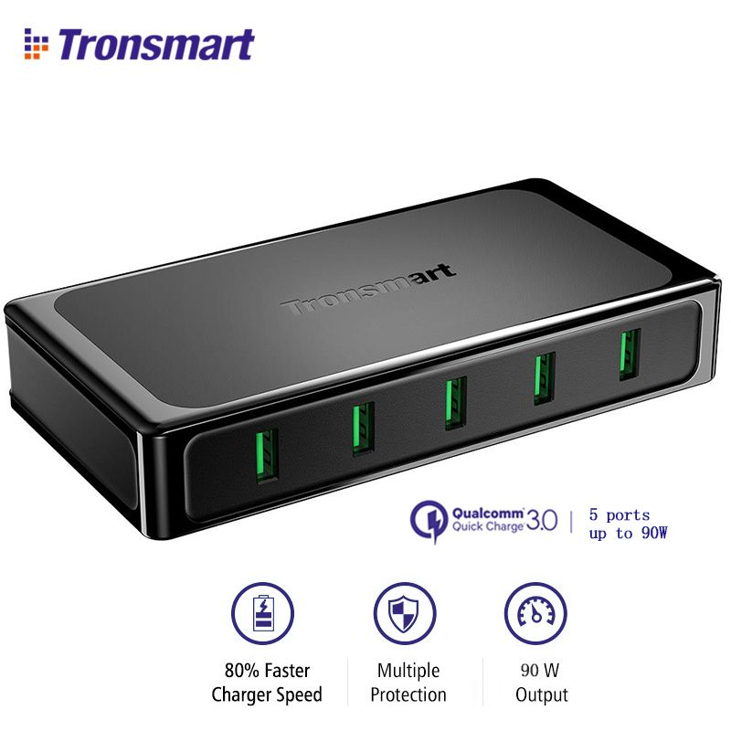 Tronsmart U5TF Desktop Charger Quick Charge 3.0 USB Charger with Quick Charge 3.0 & VoltiQ, FCP for for All iOS & Android Device