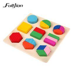 Fulljion Pendidikan Pembelajaran Montessori Kayu Matematika Mainan Puzzle Mainan untuk Anak-anak Pendidikan Peralatan Sumber Daya Geometri Hadiah