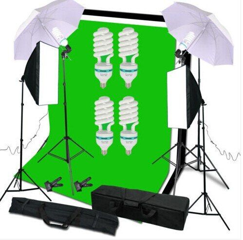 Photography Studio Set:Soft Umbrella&Backdrop Stand&Light Bulbs&Soft Box&Carry Bag For Lighting Or Youtube