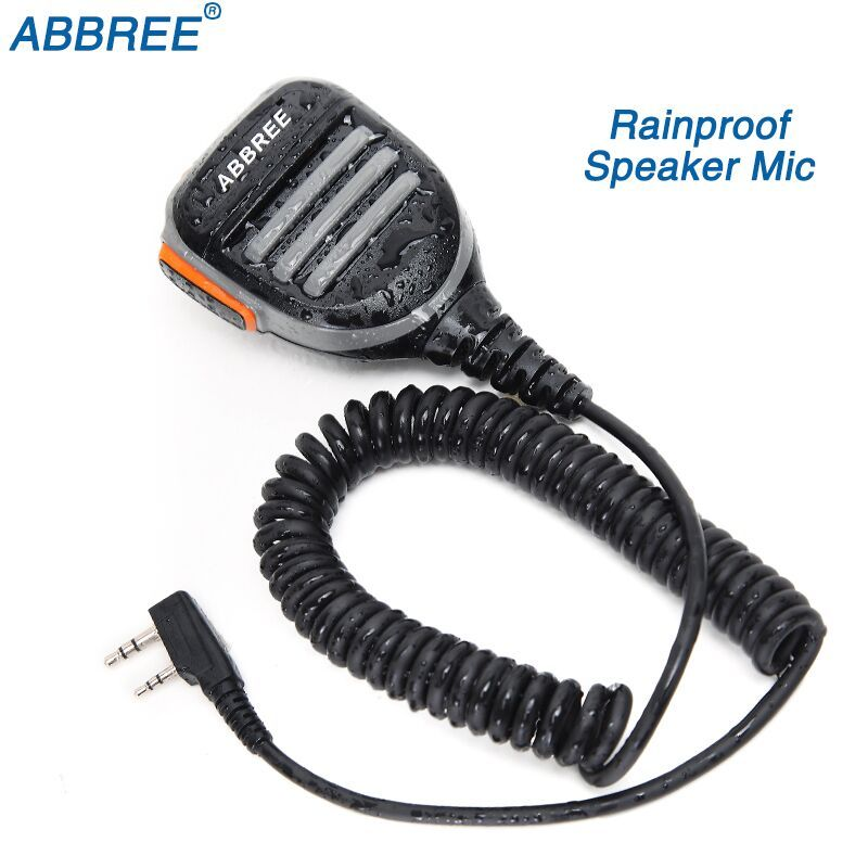ABBREE 2 Dual Pin PTT Waterproof Shoulder Speaker Microphone for TYT Baofeng Walkie Talkie UV-5R BF-888S UV-82 Two Way Radio