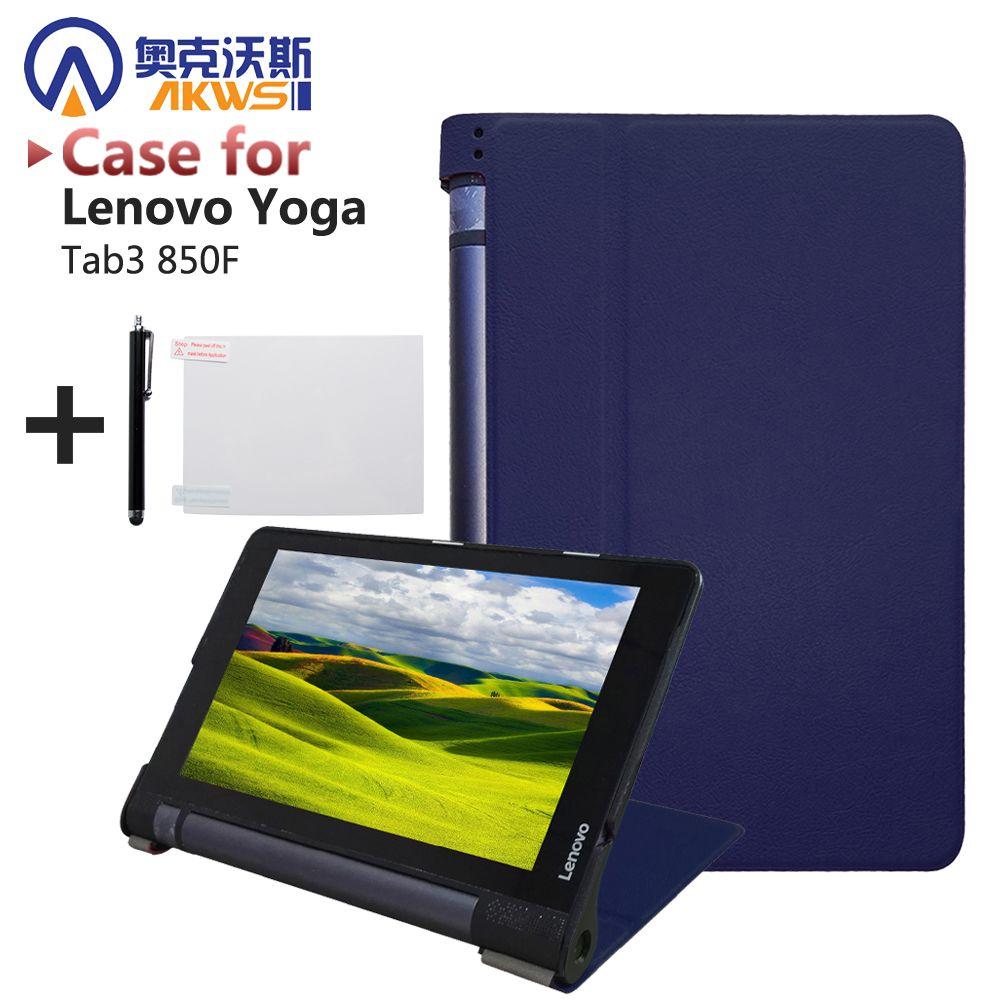 Ultra mince intelligent PU couverture en cuir cas stand de couverture pour 2015 lenovo Yoga tab 3 8
