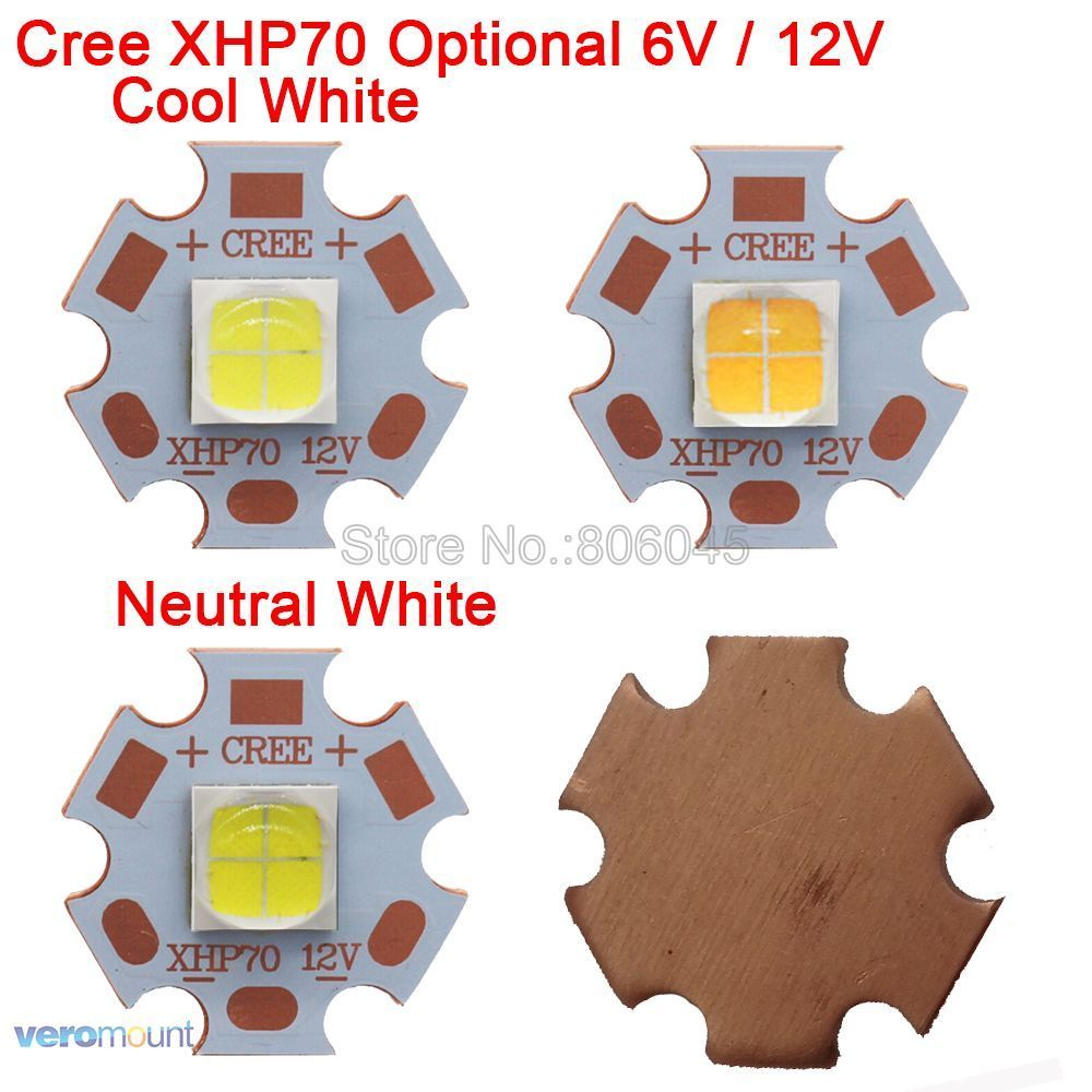 Cree xhp70 6 V o 12 V 6500 K blanco fresco, 5000 K blanco neutro, 3000 K blanco cálido LED de alta potencia del emisor en 16mm 20mm cobre PCB Bases