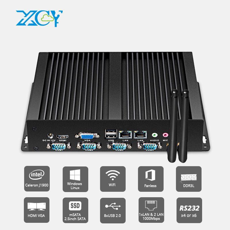 XCY Fanless Industrie Mini PC Pentium 2117U 4x RS232 COM Dual Ethernet LAN HDMI VGA WIFI Windows Linux Embed Computer IPC