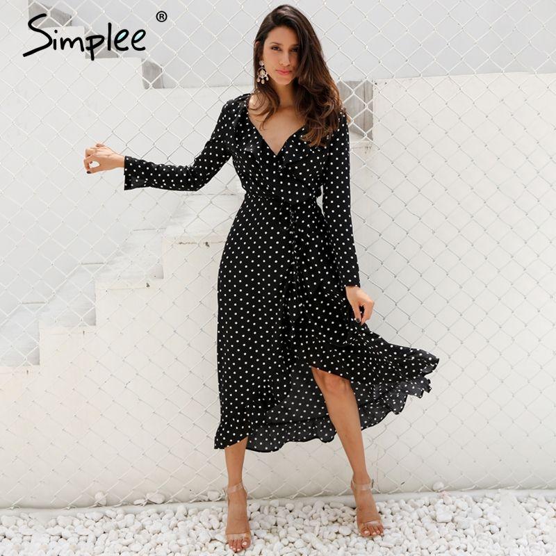 Simplee Polka dot ruffle wrap longue robe Femmes de Split à manches longues printemps casual robe 2018 Streetwear noir maxi robe robes
