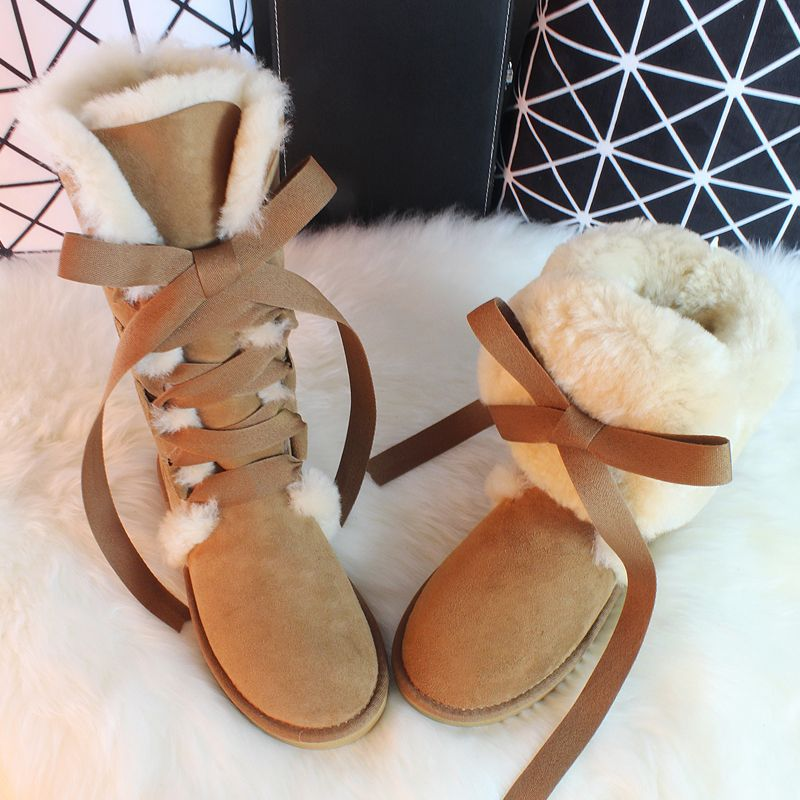 G&Zaco Luxury Sheepskin Long Boots Winter Cross Strap Lace Bow Snow Boots Knee High Natural Wool Genuine Leather Women's Boots