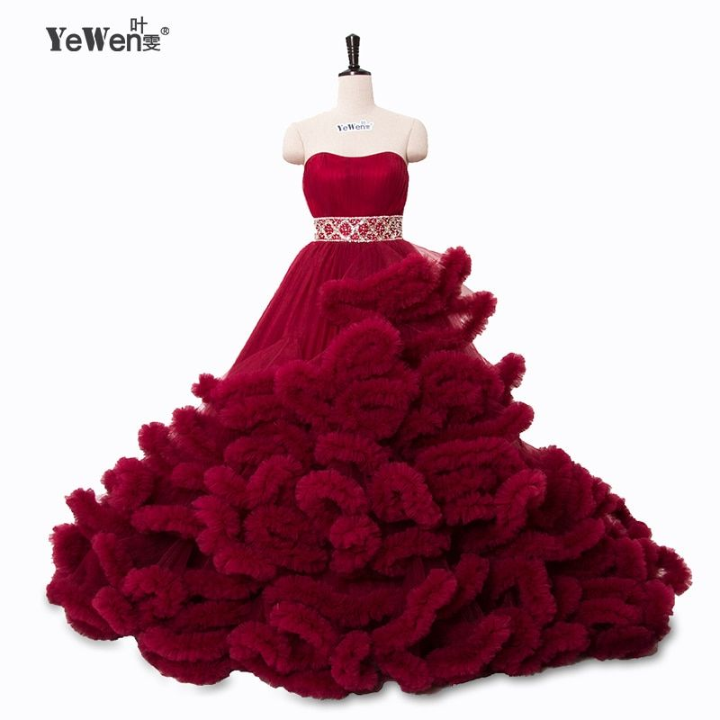 Real photo winter Luxury Pregant Top Quality Lace Up Cloud puffy Wedding Dress Burgundy Bridal Gowns Robe De Mariage Rouge 2018