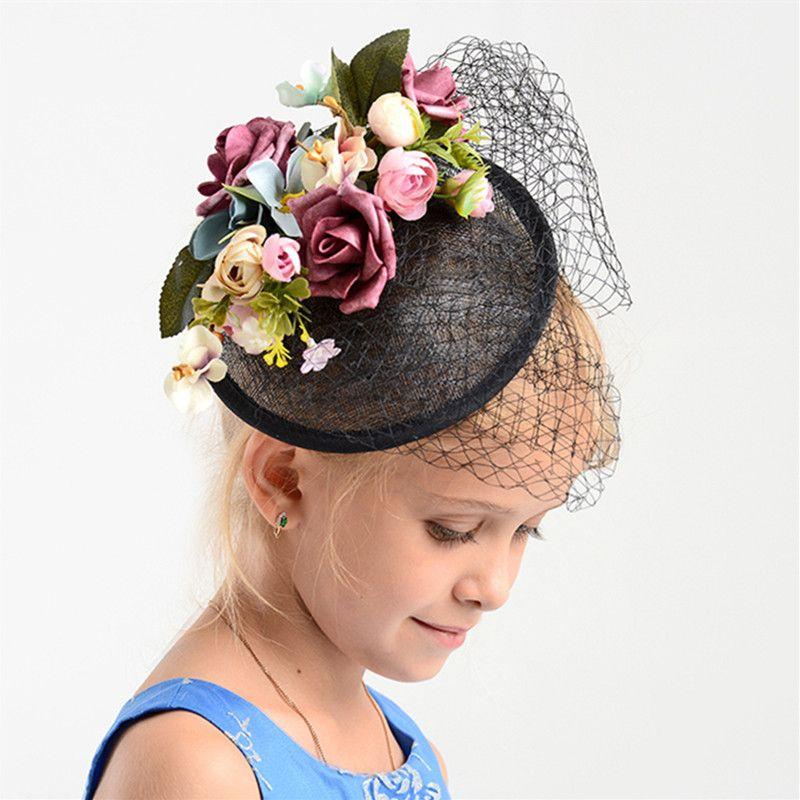 Charme noir fleur de mariage Fascinator chapeau femmes lin cheveux ornements casque de mariée mariage Floral Fascinator accessoires cadeau