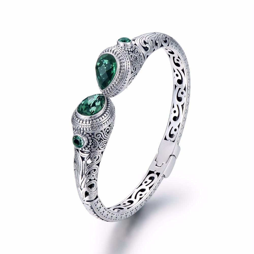 2018 Vintage Green Crystal Thai Silver Bracelet & Bangle For Women,Bali Ethnic Handmade Women Bangles Jewelry Pulseira Feminina