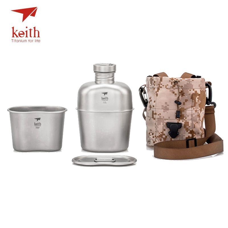 Кейт Титан 1100 мл спортивные чайник и 700 мл Титан Коробки для обедов Кемпинг армии Бутылки для воды Плита Сверхлегкий титановая кружка посуда...