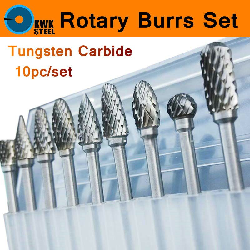 10pc 1/8 Shank Tungsten Carbide Milling Cutter Set <font><b>Rotary</b></font> Tool Burr Double Diamond Cut Dremel Tools Electric Grinding Engrave