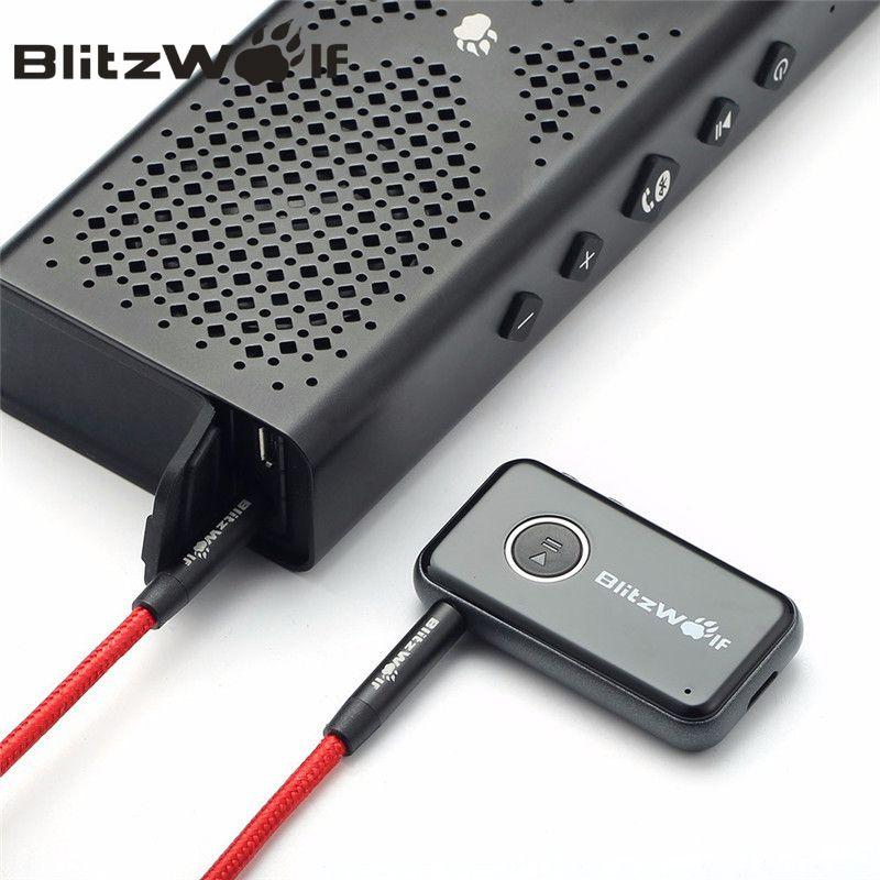 BlitzWolf Bluetooth V4.1 Car Handsfree Music Receiver <font><b>3.5mm</b></font> AUX Audio Adapter