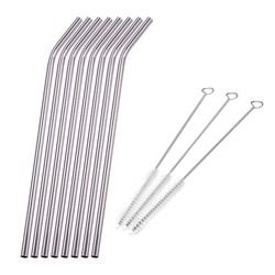 Reusable Metal Straw Pipette Suction Stainless Steel Drinking Straws Pipe Straight Bent Tube Events Party Bar Accessories