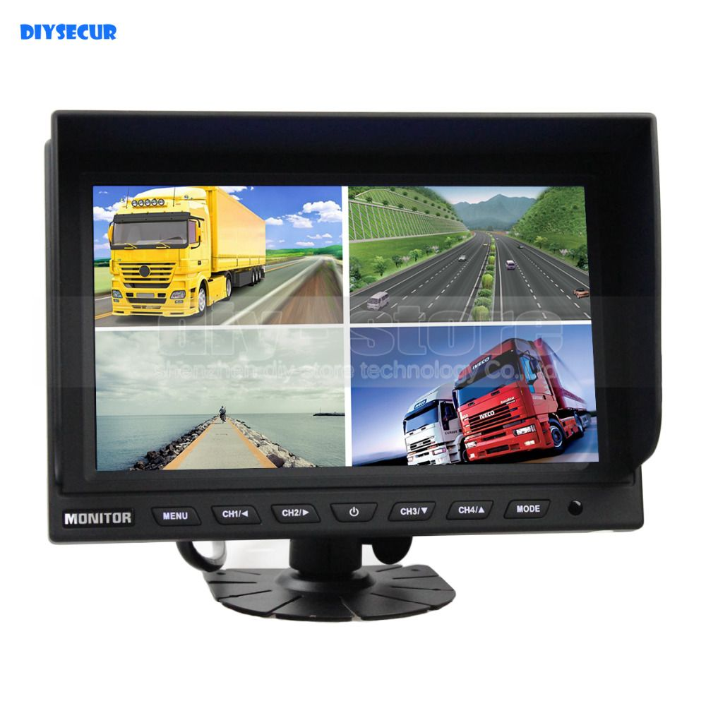 DIYSECUR 9inch 4 Split Quad LCD Screen Display Rear View Monitor Car Monitor Video Security Monitoring Monitor 12V - 24V DC